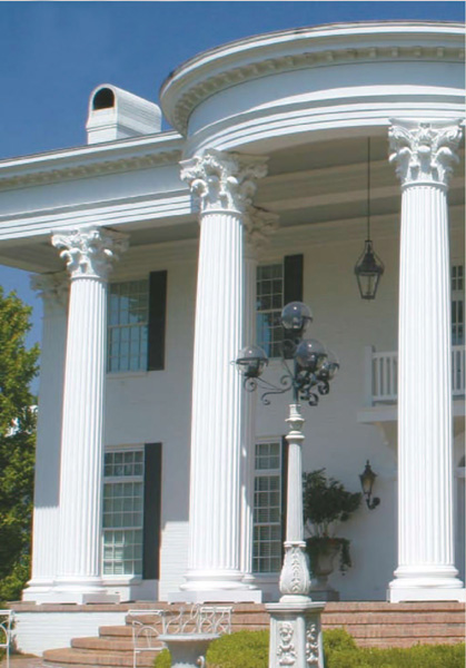 Round fiberglass porch columns curb appeal products for Decorative fiberglass columns
