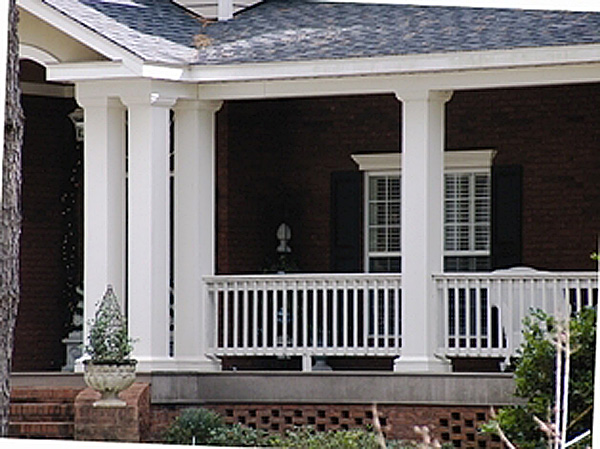 Square fiberglass porch columns curb appeal products for Decorative fiberglass columns
