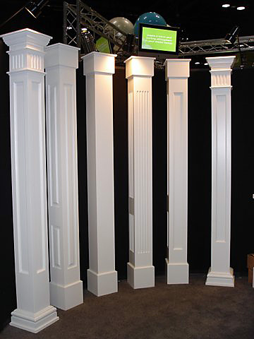 Non tapered pvc porch columns curb appeal products for Decorative metal columns exterior