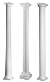 plain tapered fiberglass porch columns