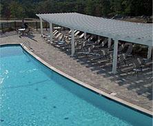 curved pool pergola